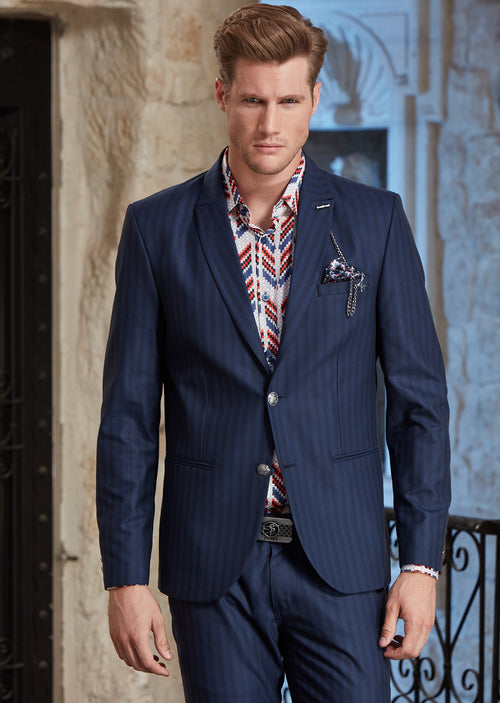 Blue Slim-Fit Tonal Stripe 2-Pieces Suit