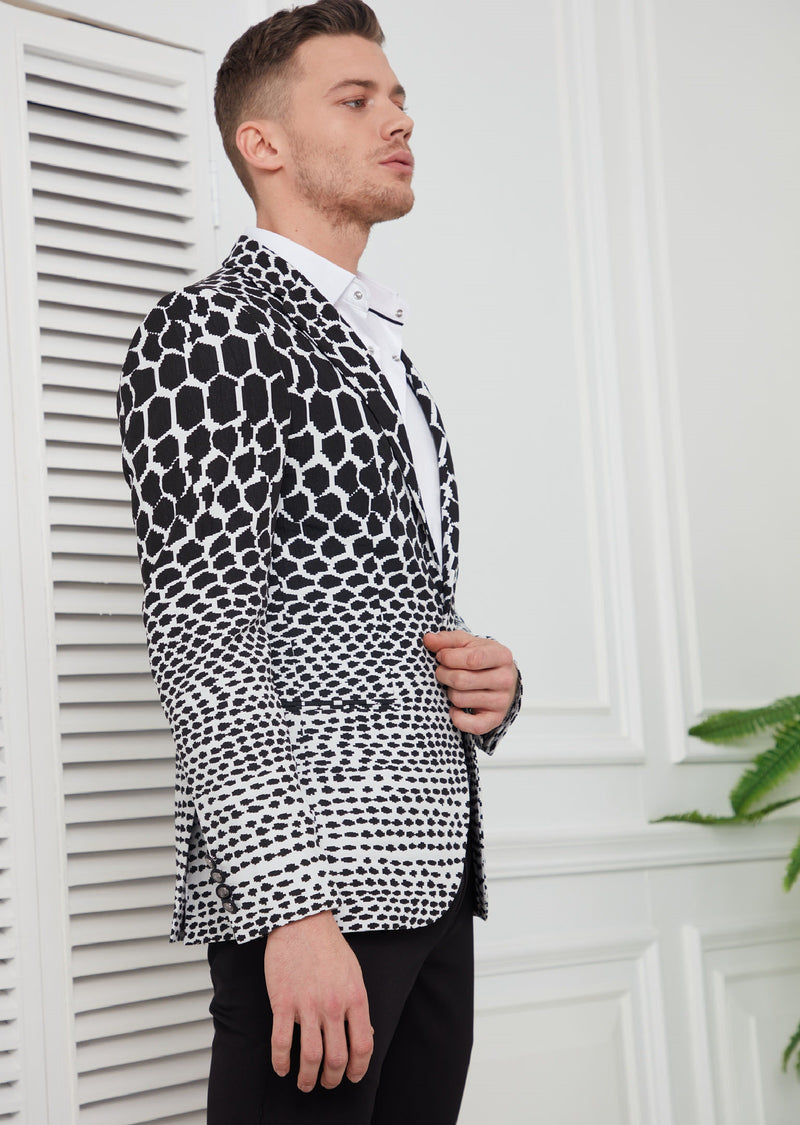 Black White Degraded Jacquard Blazer