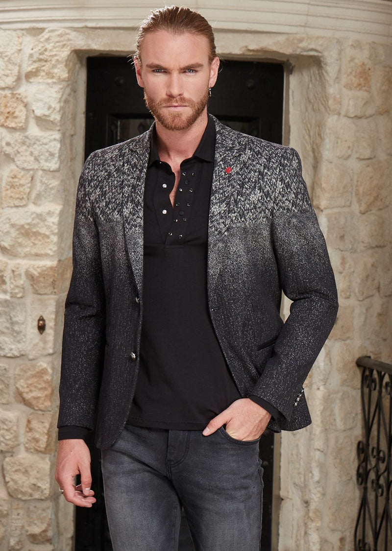 Marsalis Black Gray Weaved Blazer