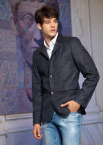 Navy Blue Military Inspired Zipper  Blazer