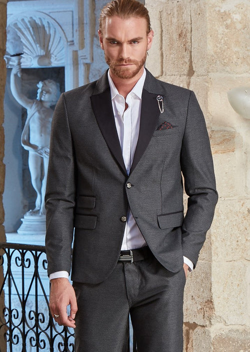 Gray Slim-Fit Jetsetter Jacquard 2-Pieces Suit