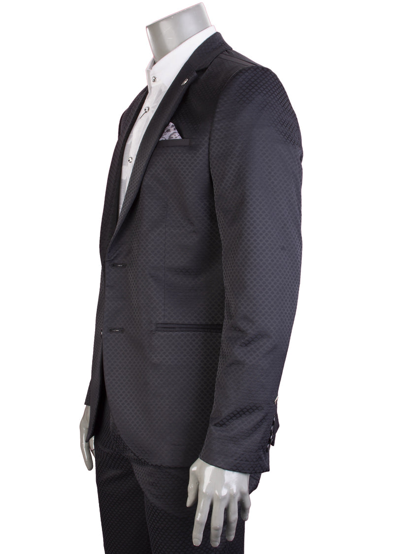 Black Slim-Fit Jacquard 2-Pieces Suit