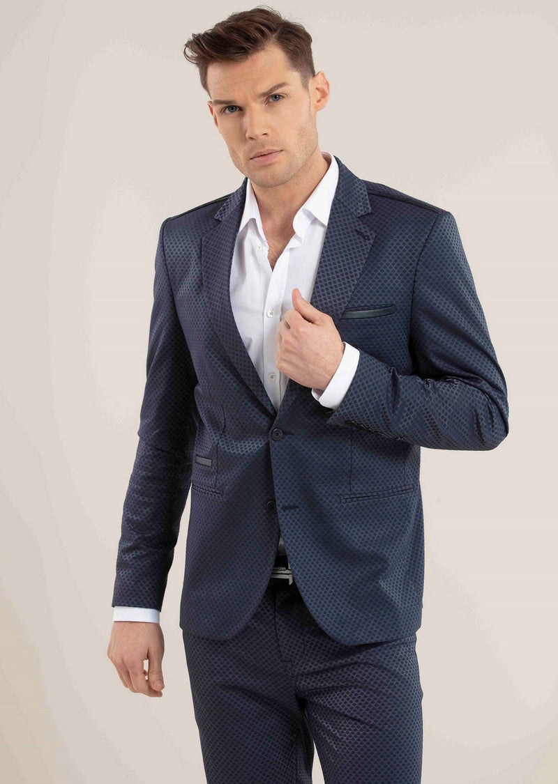 Navy Slim-Fit Jacquard 2-Pieces Suit