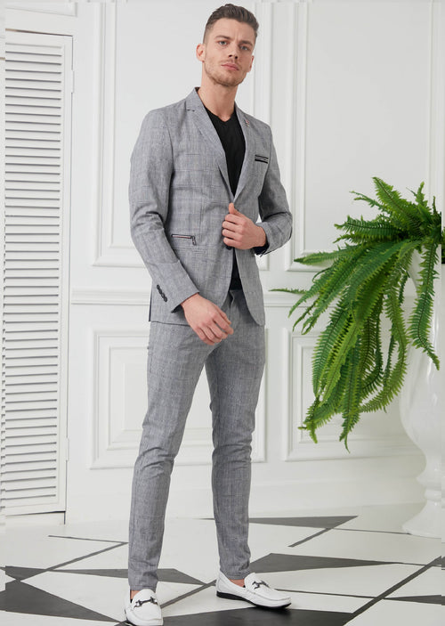 Gray Plaid Casual 2-Pieces Suit