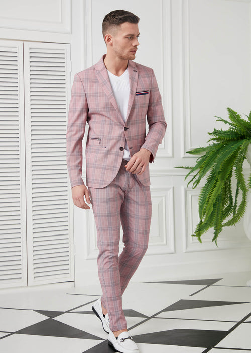 Pink Plaid Casual 2-Pieces Suit
