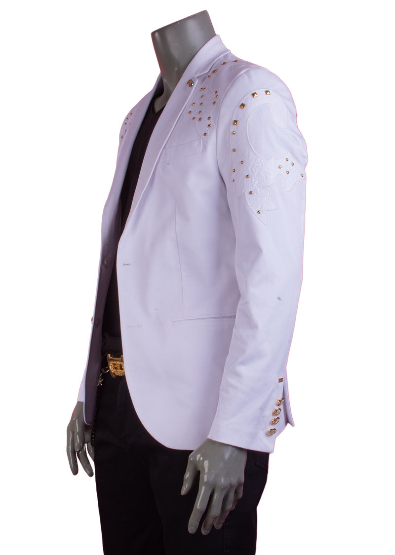 White Gold Studded Motif Blazer