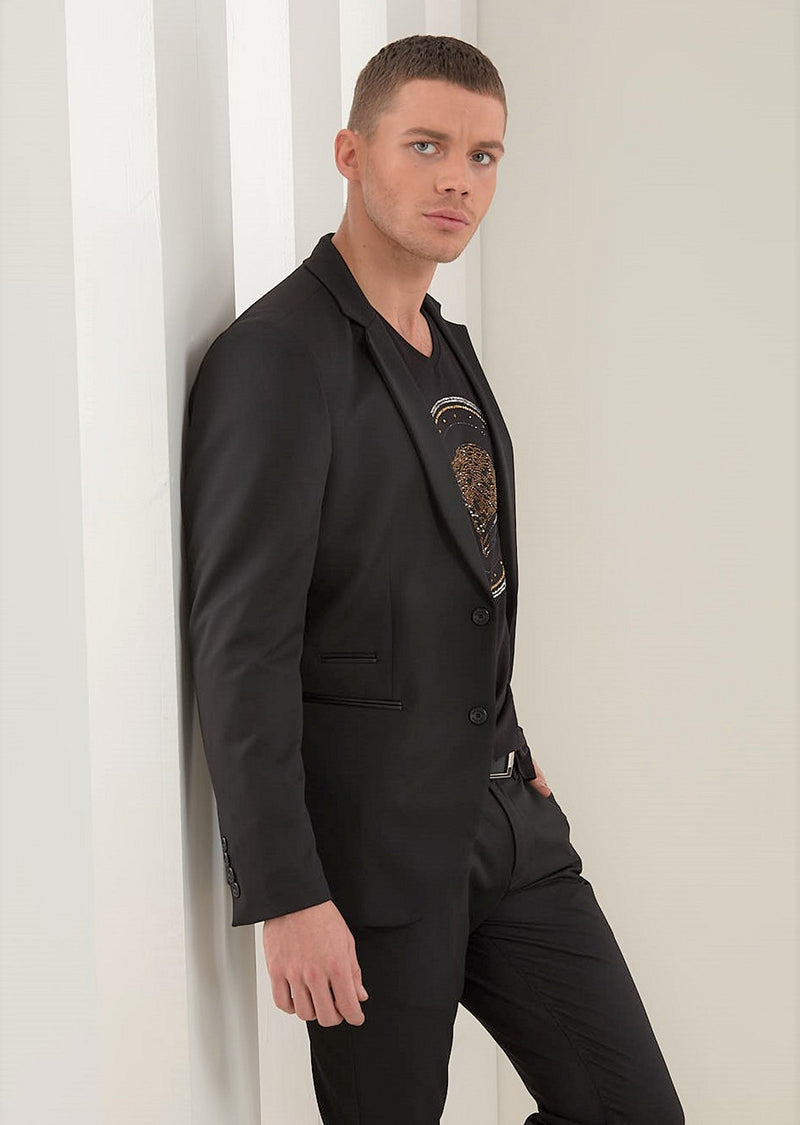 Black Slim-Fit Performance  2-Pieces Suit