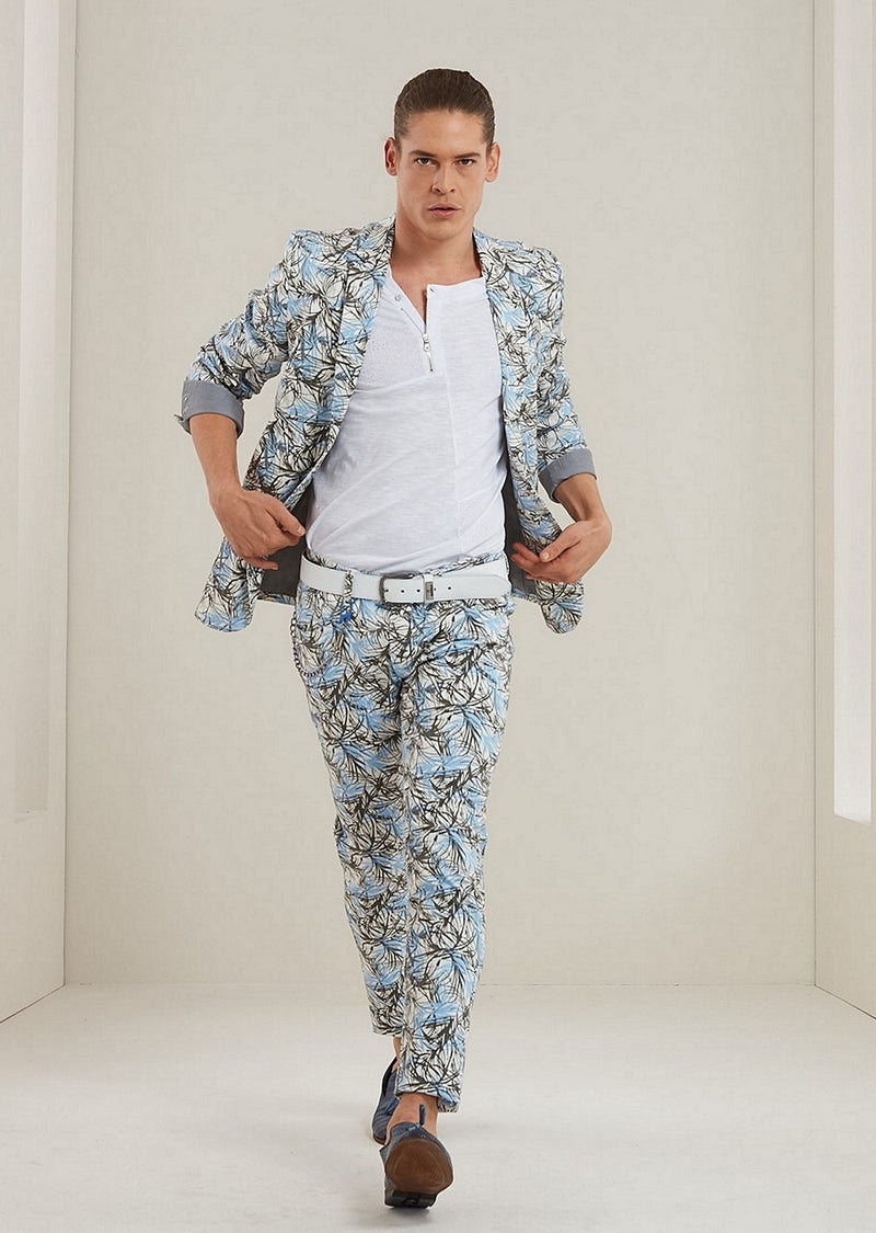 Blue Floral Slim-Fit 2-Pieces Suit
