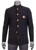 Black Gold Mandarin Collar Blazer