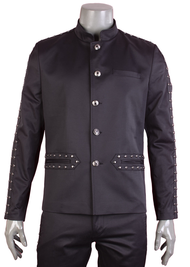 Black Stripe Stud Embellished Jacket