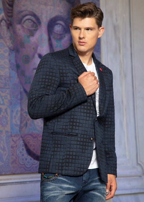 Navy Luigi Square Knit Blazer