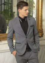 Gray Tonal Stretch Blazer
