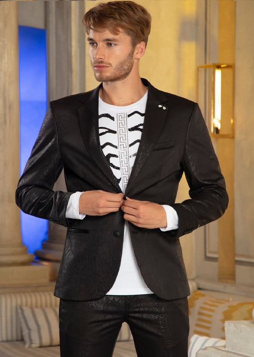 Black Alligator Print Tech Blazer