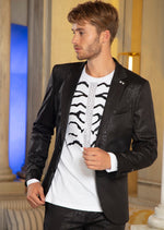 Black Snake Print Tech Blazer