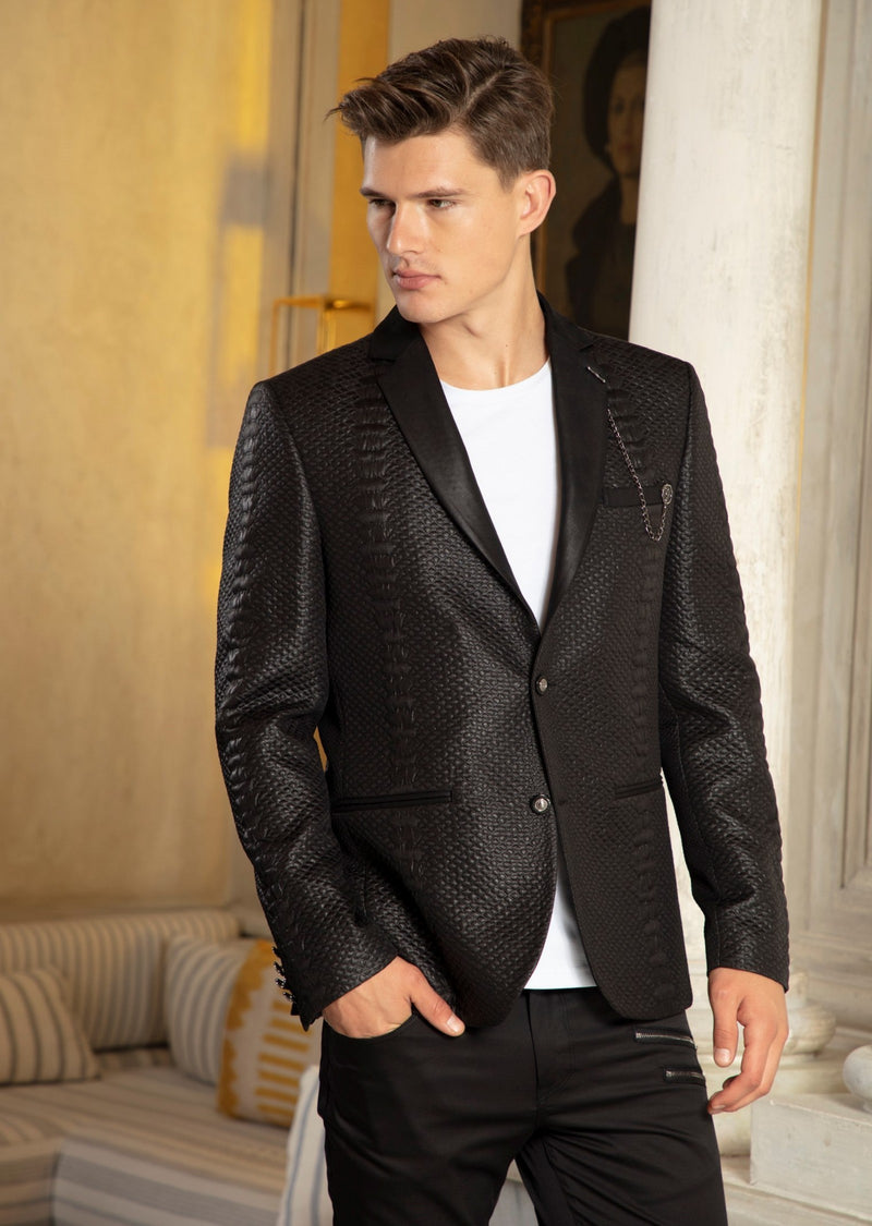 Black Jacquard Alligator Print Blazer