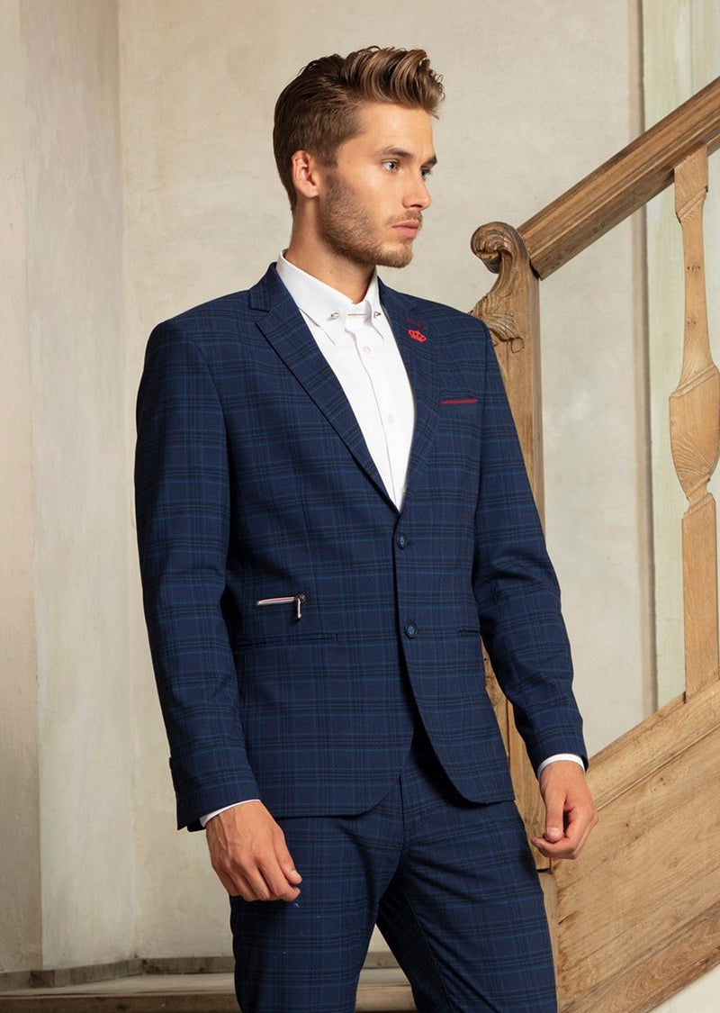 Navy Blue Sport Plaid Blazer