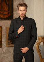 Black Mandarin Collar Plaid 2-Pieces Suit