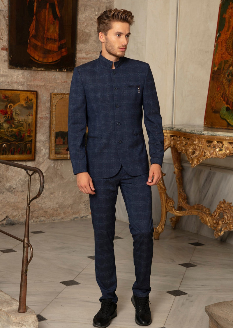 Navy Mandarin Collar Plaid 2-Pieces Suit