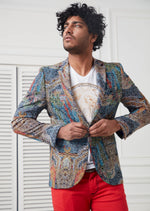 Navy Brown Mosaic Print Blazer