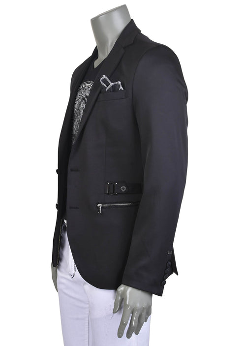 Black Silver Buckle Blazer