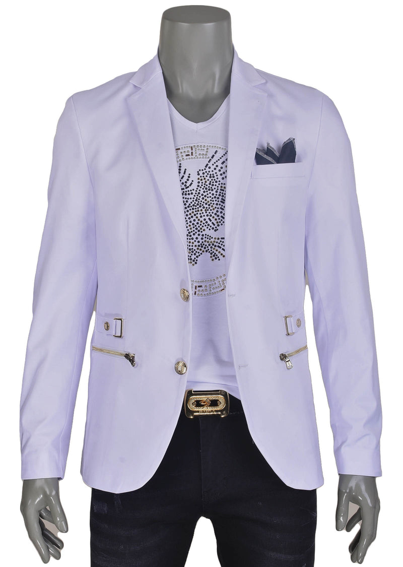 White Gold Buckle Blazer