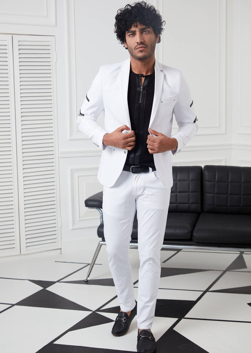 White Zippered Arm Blazer