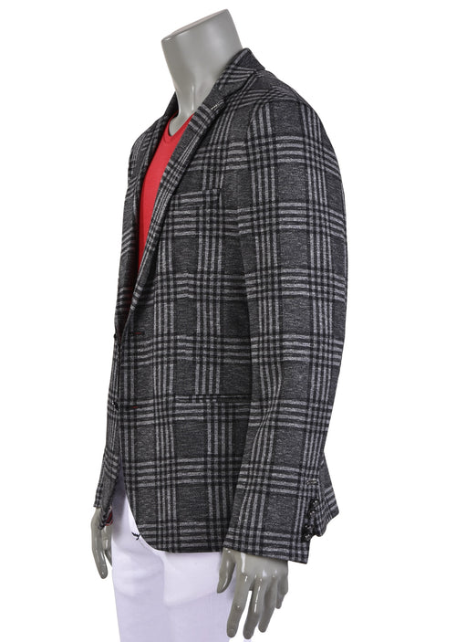 Gray Plaid Luxe Comfort Knit Blazer