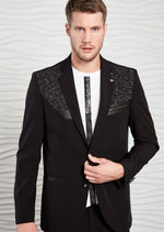 Black Knit Tech Stretchy 2-Pieces Suit