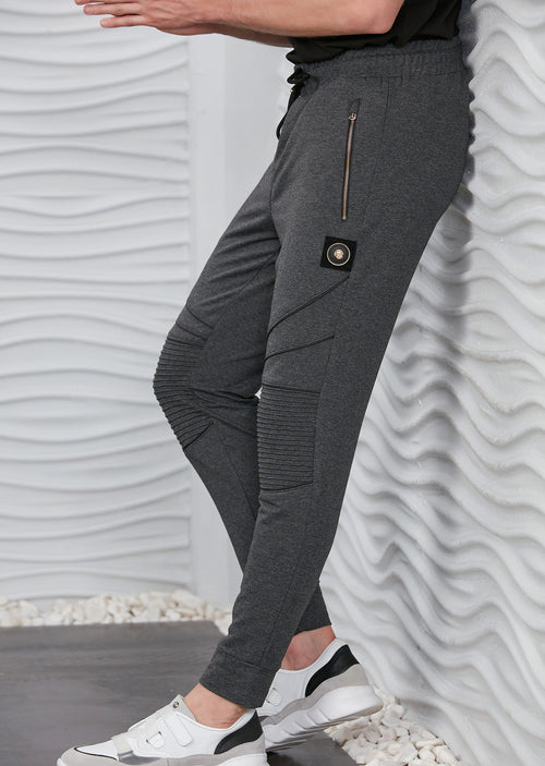 Gray Luxe Ribbed Panel Jogger Pants