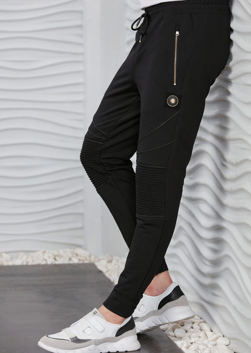 Black Luxe Ribbed Panel Jogger Pants