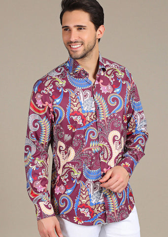 "Burgundy Fiore ""Limited Edition"" Silky Long Sleeve Shirt"