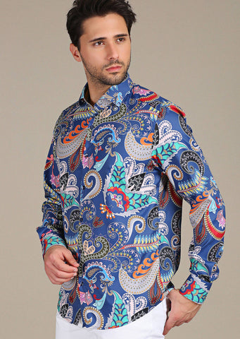 "Blue Fiore ""Limited Edition"" Silky Long Sleeve Shirt"
