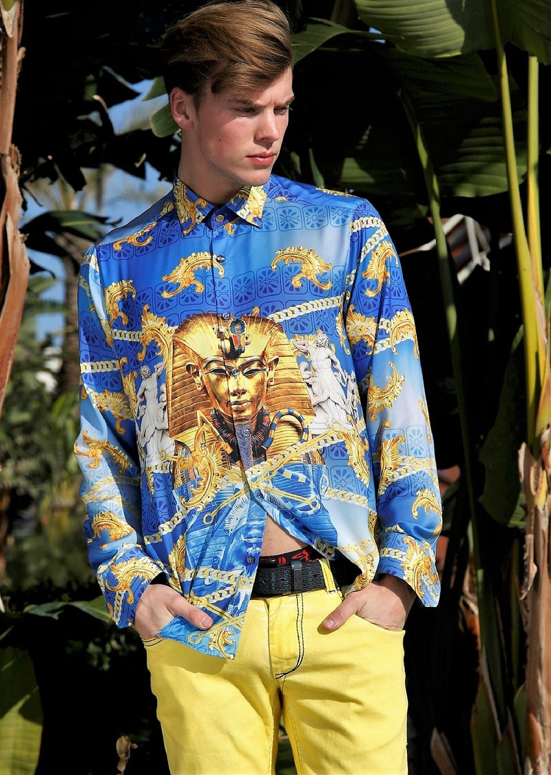 "Blue ""Pharoah"" Pyramid Silky Shirt"