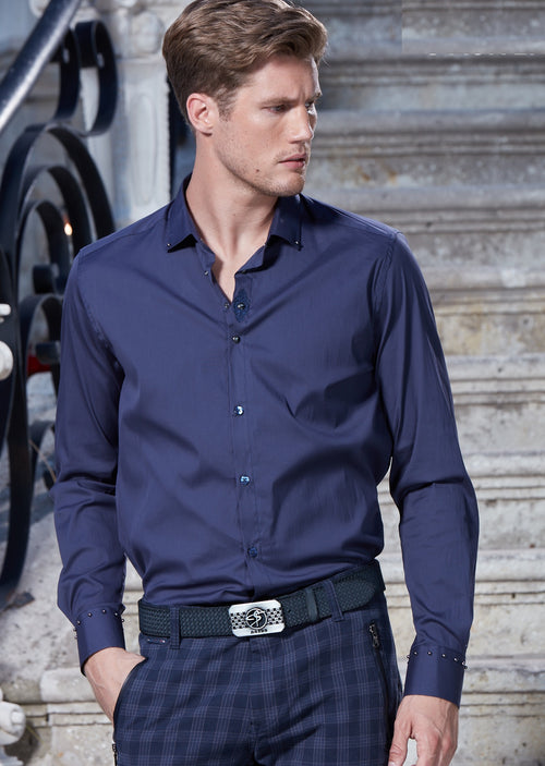 Navy Embroidery & Stud Detailed Shirt