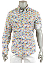 Yellow & Blue Flower Print Shirt
