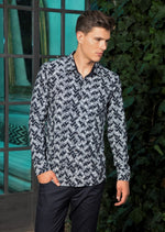 Navy Blue Triangle Print Knit Shirt