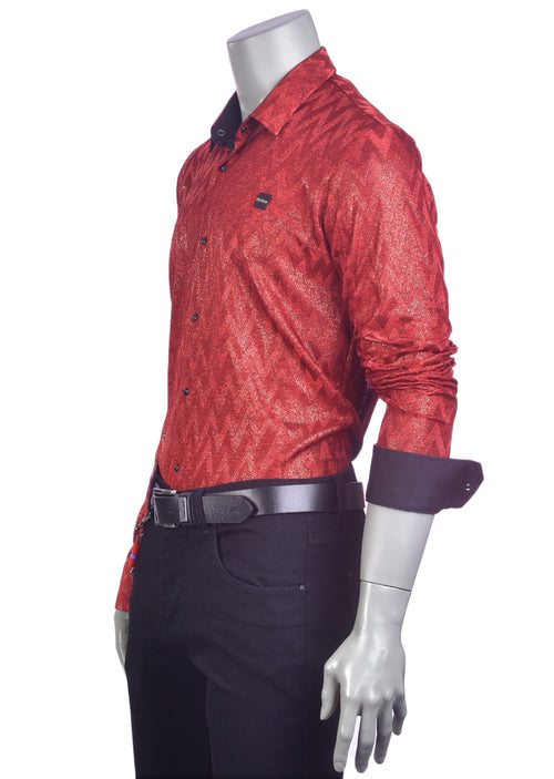 Burgundy Red Knit Jacquard Shirt