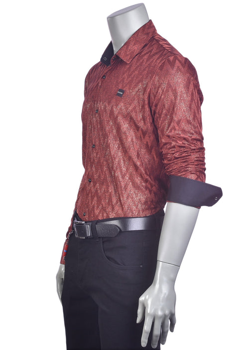 Chimney Red Knit Jacquard Shirt