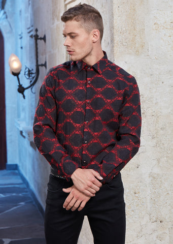 Burgundy Jacquard Long Sleeve Shirt