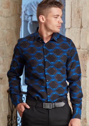 Royal Blue Jacquard Long Sleeve Shirt