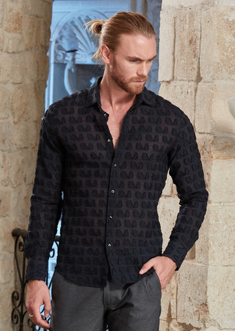 "Black Sheer ""Rafelli"" Long Sleeve Shirt"