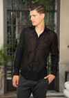 "Black ""Milano"" Sheer Long Sleeve Shirt"