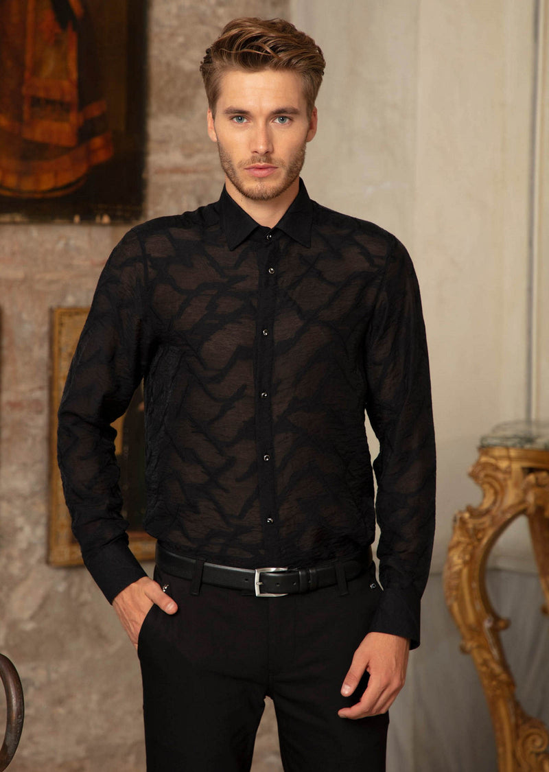 "Black ""Paris"" Sheer Long Sleeve Shirt"
