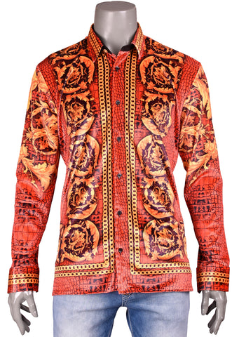 "Red Gold Baroque ""Limited Edition"" Velvet Long Sleeve Shirt"