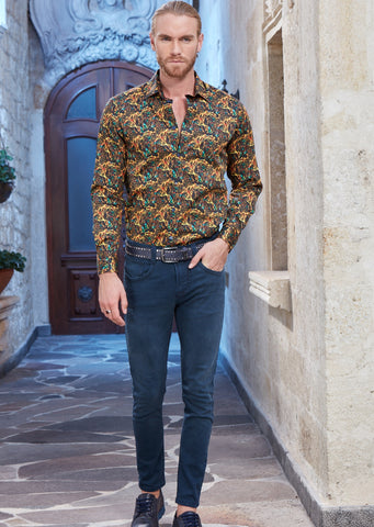 Mustard Yellow Paisley Long Sleeve Shirt