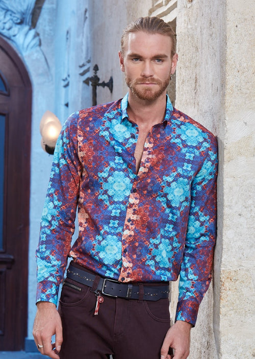 Turqouis Utopia Textured Abstract Shirt