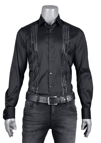 "Black Block Rhinestone ""Limited Edition"" Long Sleeve Shirt"