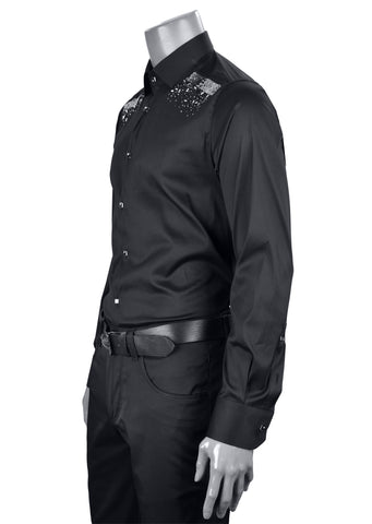 "Black Rhinestone Federico ""Limited Edition"" Long Sleeve Shirt"