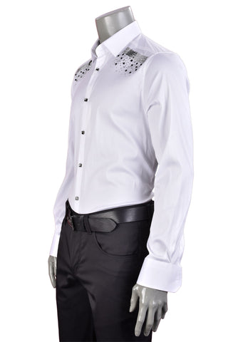 "White Rhinestone Federico ""Limited Edition"" Long Sleeve Shirt"