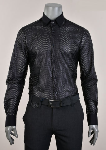 "Black Sheer ""Domenico"" Long Sleeve Shirt"